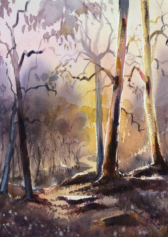 PAINTING for Sale: Autumn Glow - Medium 1/4 sheet original watercolour by Jenny Gilchrist