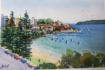 PAINTING for Sale:  East Manly Cove - Medium small 1/8 sheet original watercolour by Jenny Gilchrist