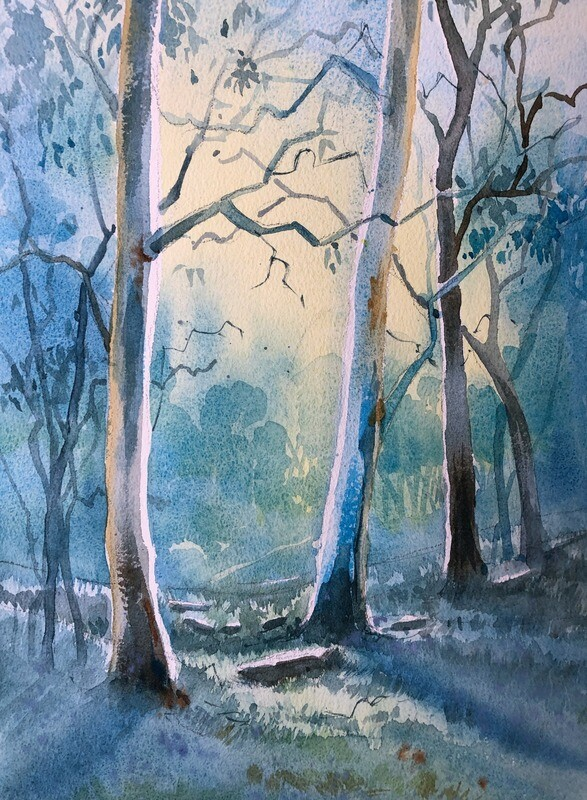 PAINTING for Sale:Out of the Trees  - Medium 1/4 sheet original watercolour by Jenny Gilchrist