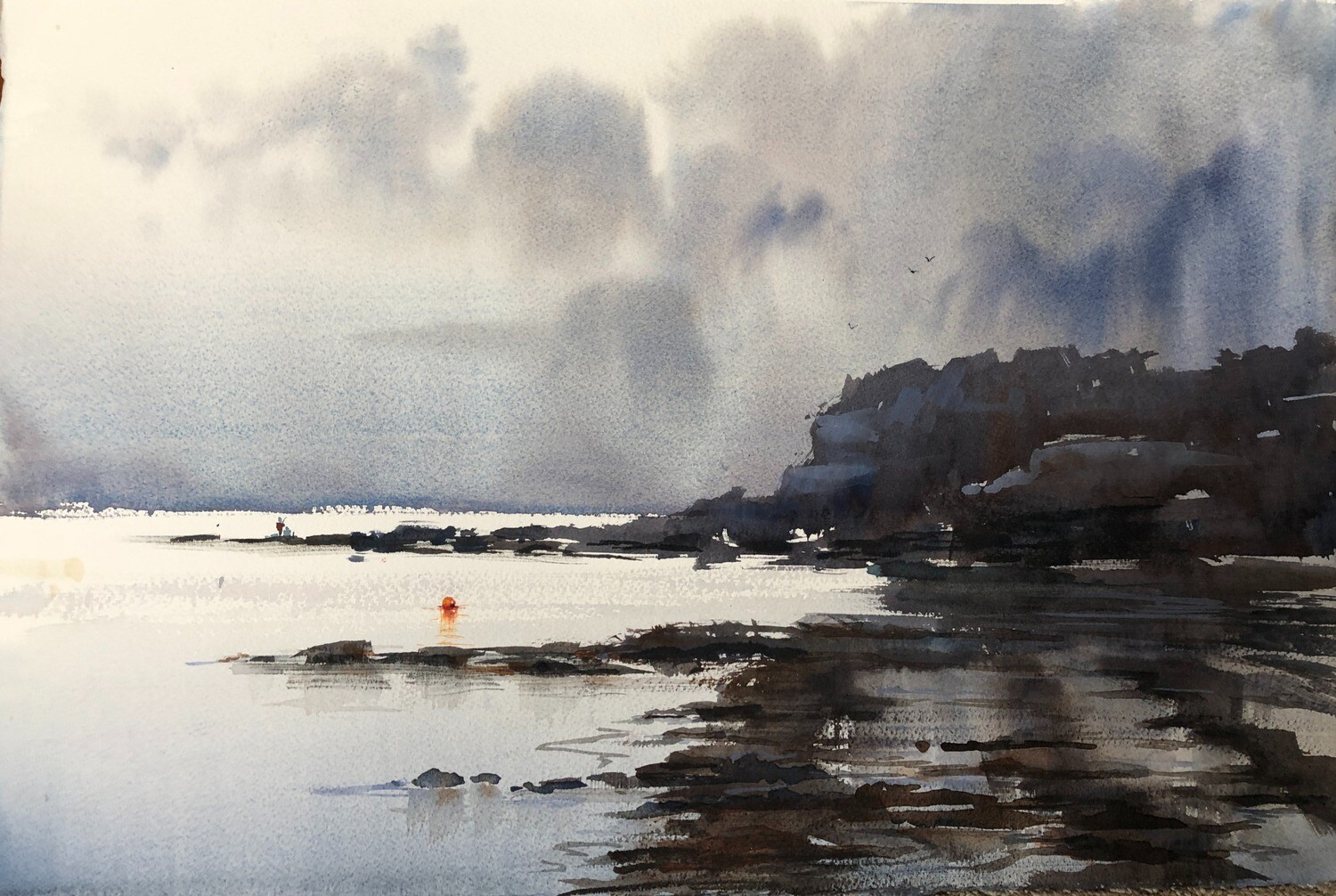 SOLD - PAINTING - Storm's Past -  Large1/2 sheet original watercolour by Jenny Gilchrist