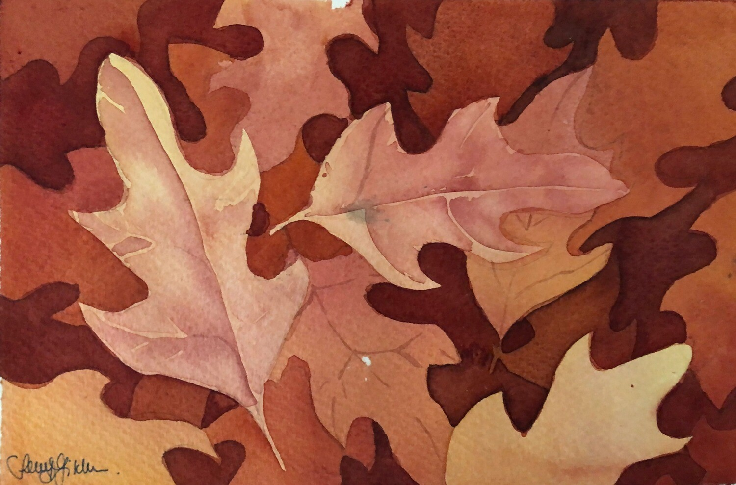 PAINTING for Sale: Shades of Russet - Medium Small - 1/8th sheet original watercolour by Jenny Gilchrist