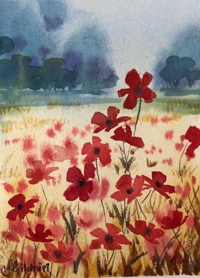 PAINTING for Sale: In Flanders Fields - Small - 1/16th sheet original watercolour by Jenny Gilchrist
