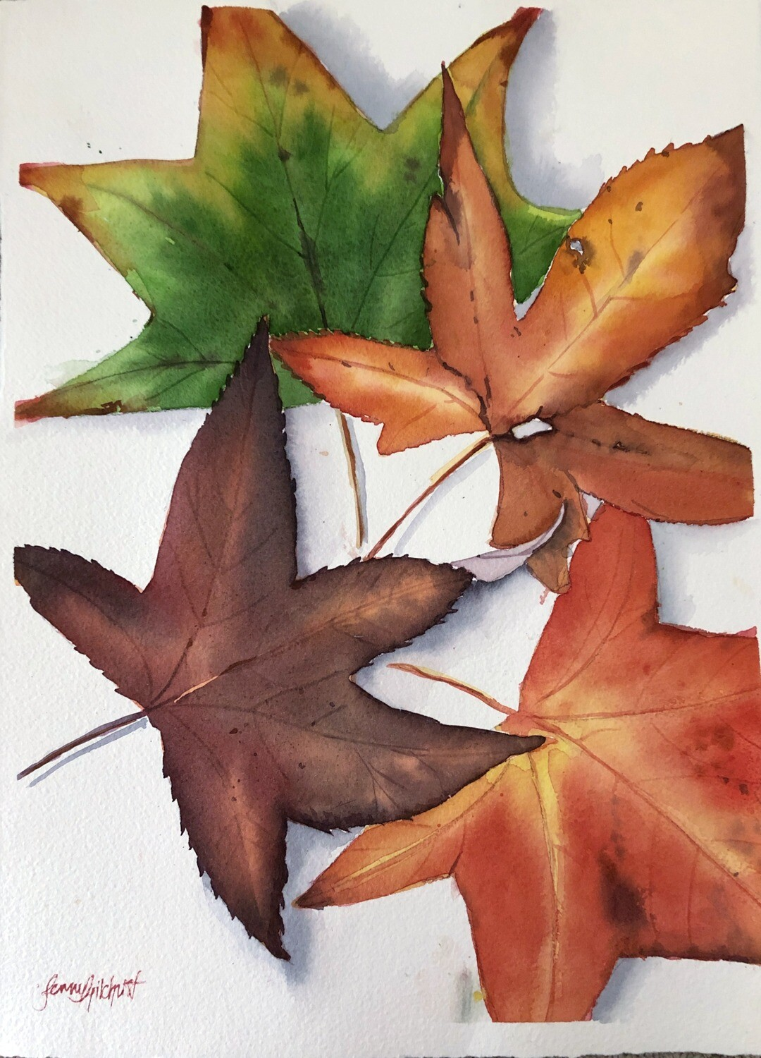 PAINTING for Sale: Lovely Leaves - Medium - 1/4th sheet original watercolour by Jenny Gilchrist