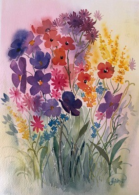 PAINTING for Sale: BLOOMING -  Medium 1/4 sheet original artwork by Jenny Gilchrist