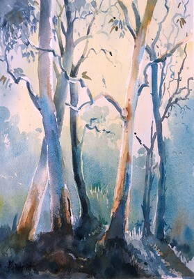 PAINTING for Sale: MORNING LIGHT -  Medium 1/4 sheet original artwork by Jenny Gilchrist