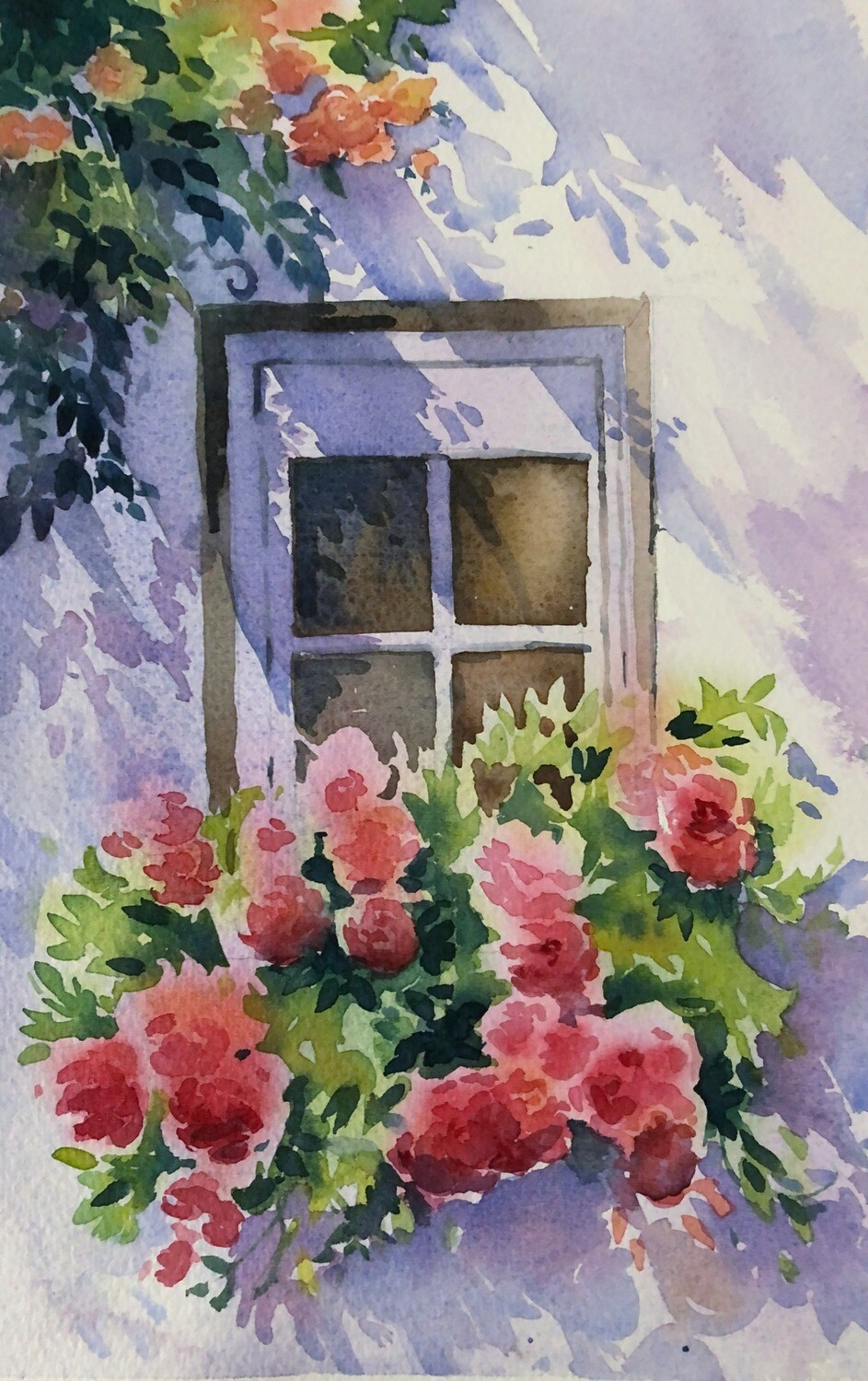 SOLD - PAINTING : Pretty Window box-  Medium Small - 1/8th sheet  artwork by Jenny Gilchrist