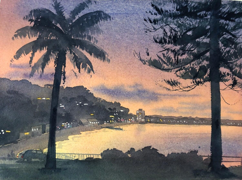 PAINTING for Sale: COLLAROY SUNDOWN-  Medium 1/4 sheet original artwork by Jenny Gilchrist