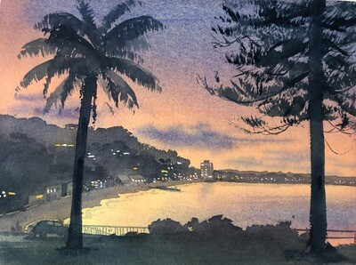 PAINTING for Sale: COLLAROY SUNDOWN-  Medium 1/4 sheet original artwork by Jenny Gilchrist