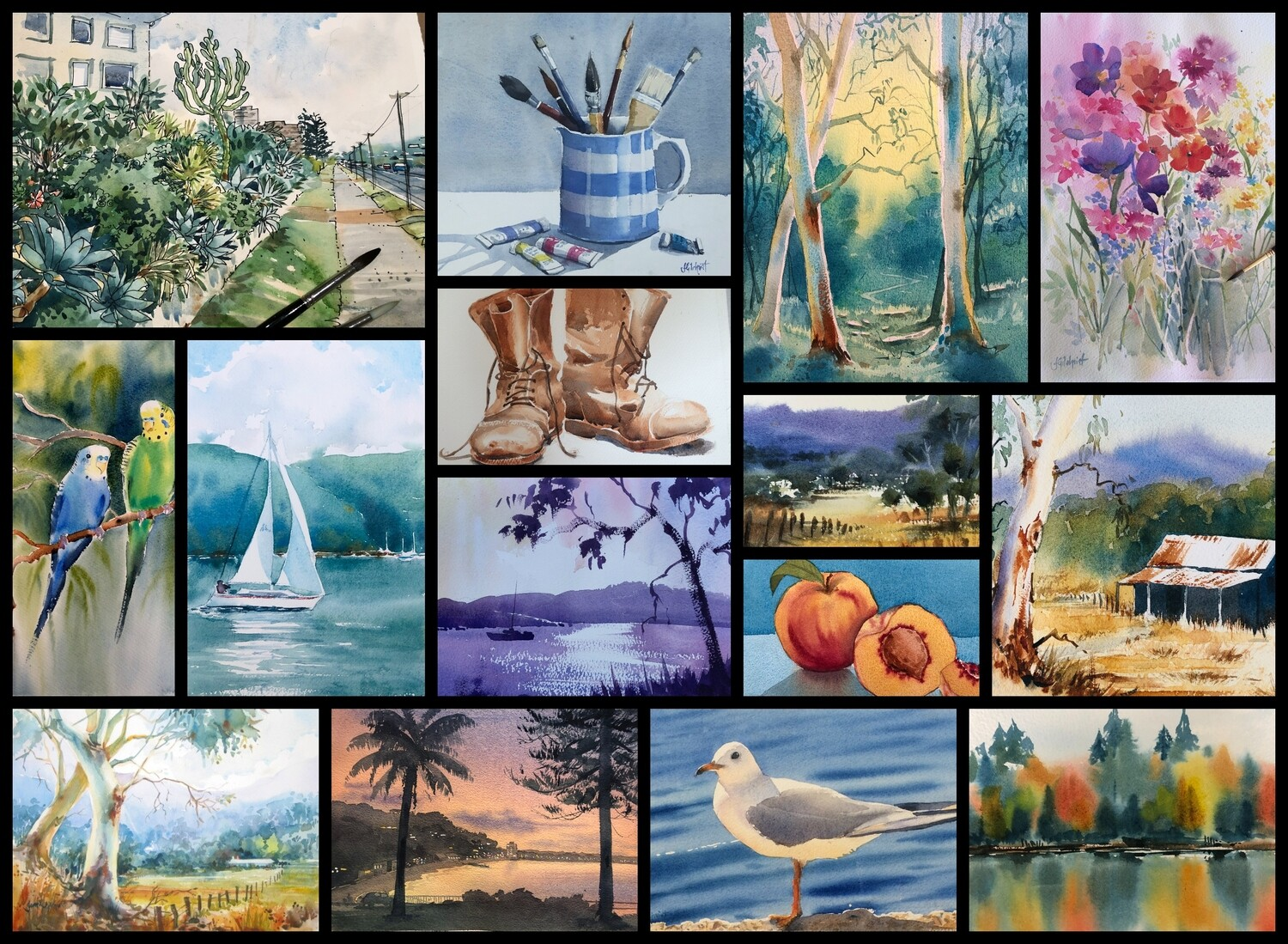 ZOOM ONLINE STAGE 4 Wednesday Morning -   10 weeks - Guided Paintings -  Starts  14th October