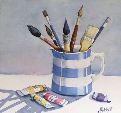 PAINTING: Waiting for Action  - Medium 1/4 sheet original watercolour by Jenny Gilchrist