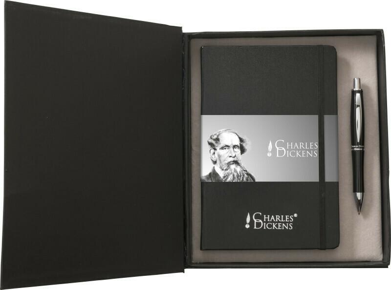 Set Scrittura Charles Dickens® in alluminio, taccuino formato +/- A5