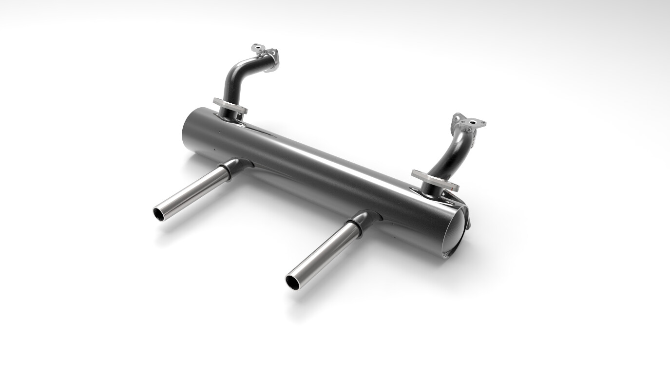1300C.C. ~ 1600C.C. CLASSIC VW BUG STAINLESS STEEL MUFFLER with Original Style Stainless Steel Tips