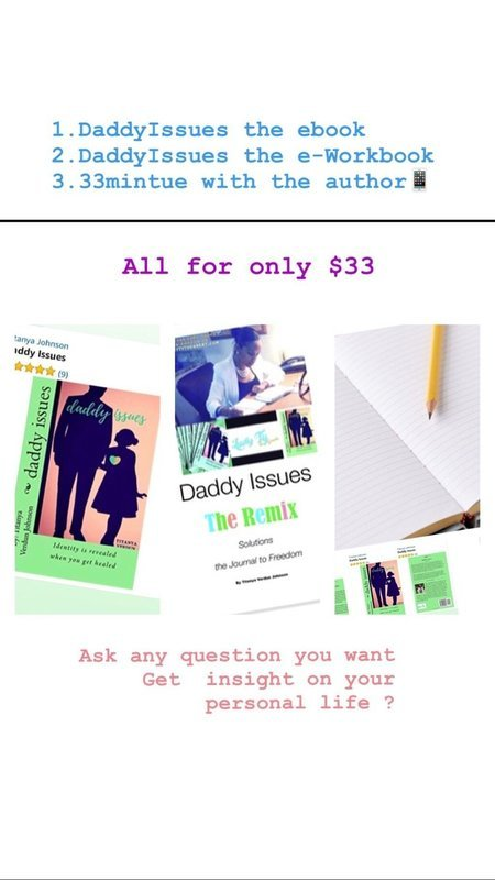 Daddy Issue $33, (electronic) Book & Workbook, Bonus 33 minutes 1on1 Session w the author LadyTy