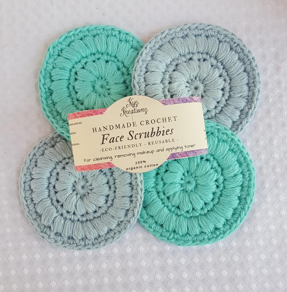 Made to Order | Crochet Face Scrubbies (pack of 4) - Bright Ocean & Soft Sky