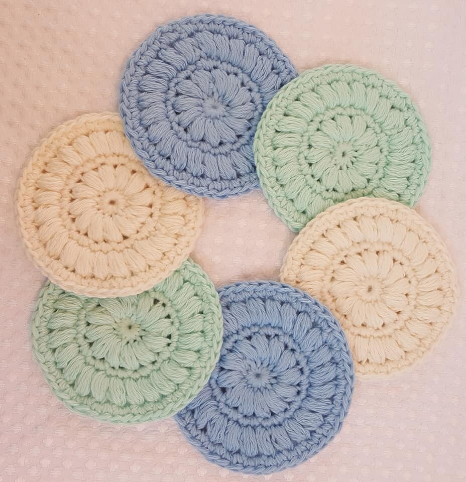 Made to Order   Crochet Face Scrubbies (pack of 6) -Sea Mist