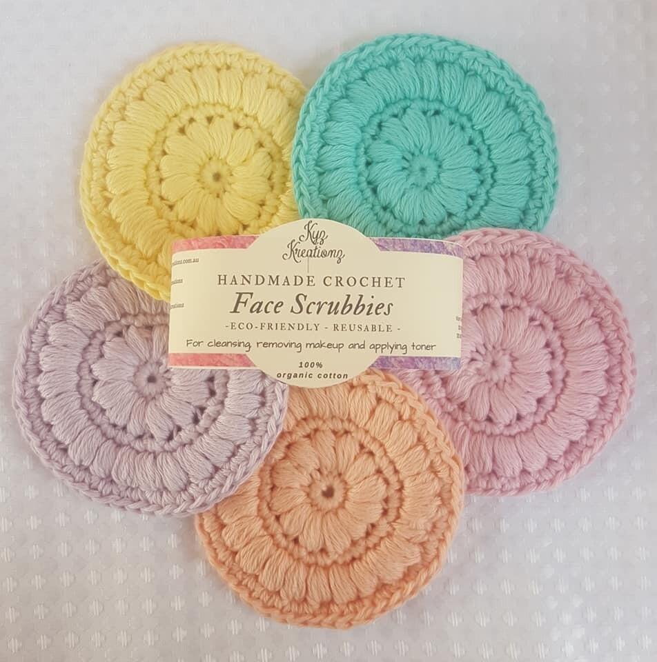 Made to Order   Crochet Face Scrubbies (pack of 5) - Buttermilk, Fresh Air, Soft Blossom, Peach Fuzz & Lavender Haze