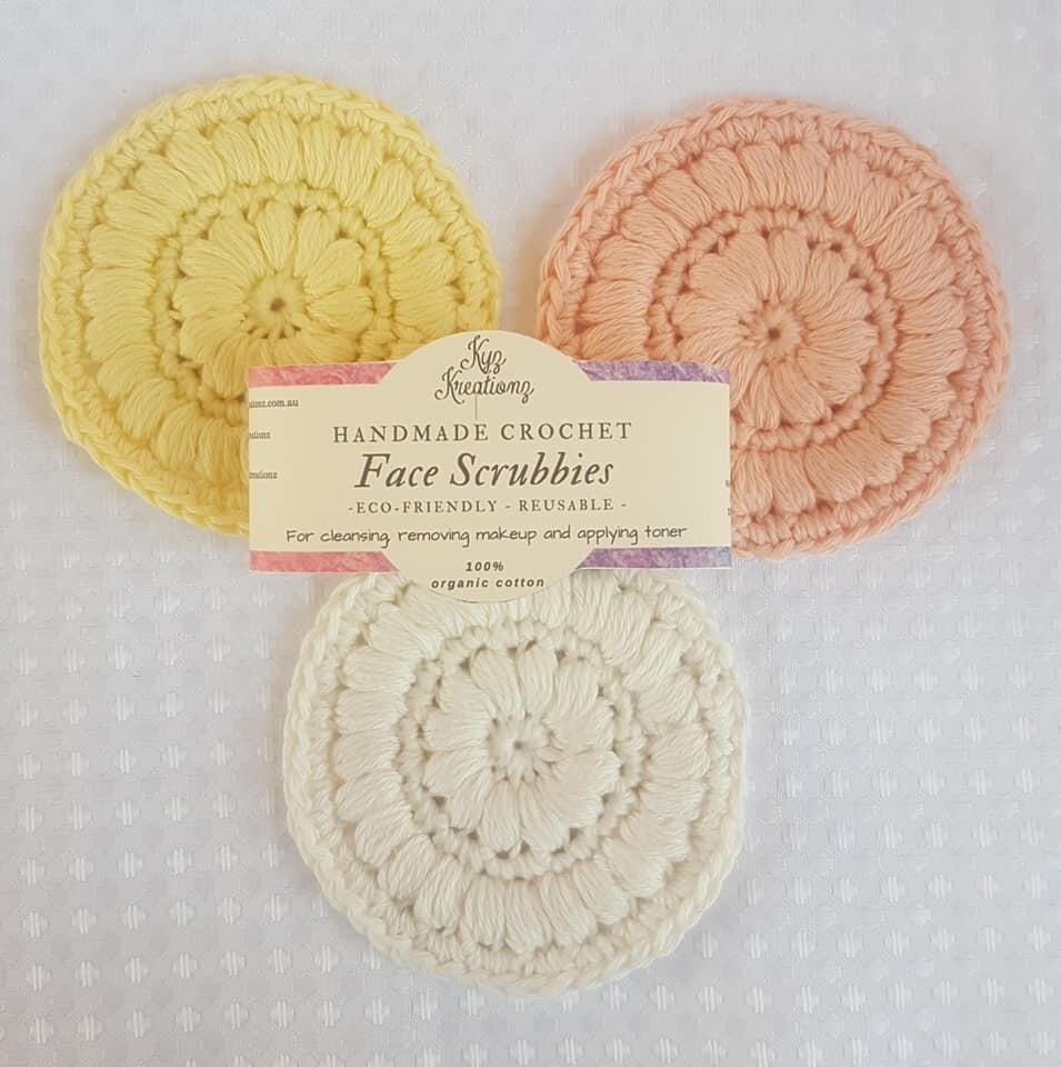 Made to Order   Crochet Face Scrubbies (pack of 3) - Sunshine Delight