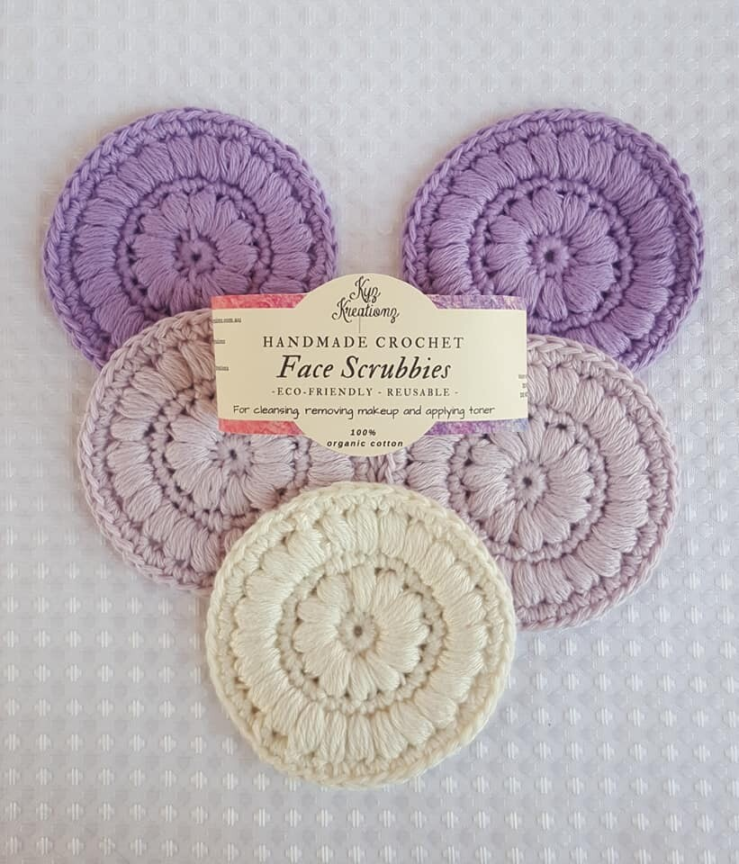 Made to Order   Crochet Face Scrubbies (pack of 5) - Lavender Fields