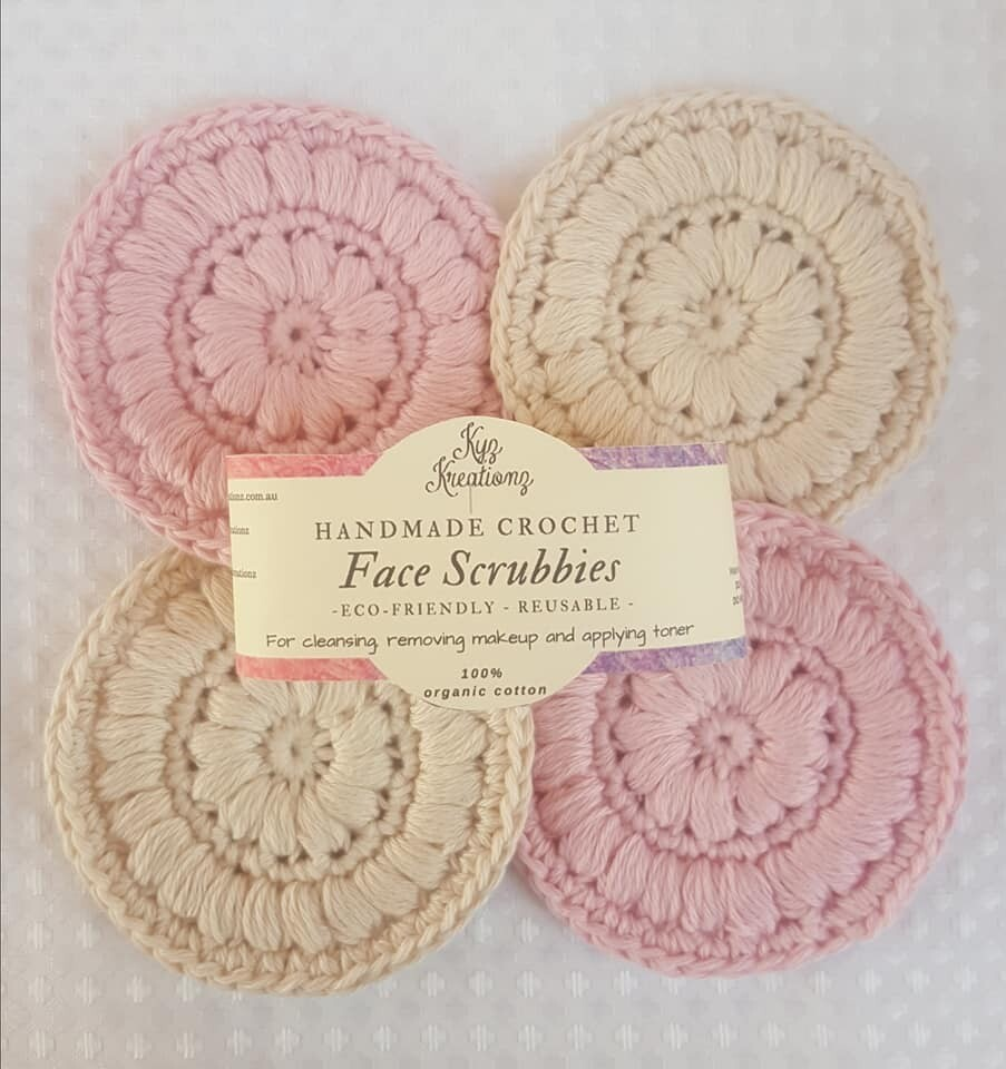 Made to Order | Crochet Face Scrubbies (pack of 4) - Marshmallow Mist