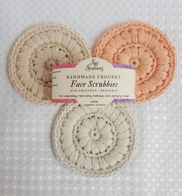 Made to Order | Crochet Face Scrubbies (pack of 3) - Clouded Crystal, Peach Fuzz & Broken Almond