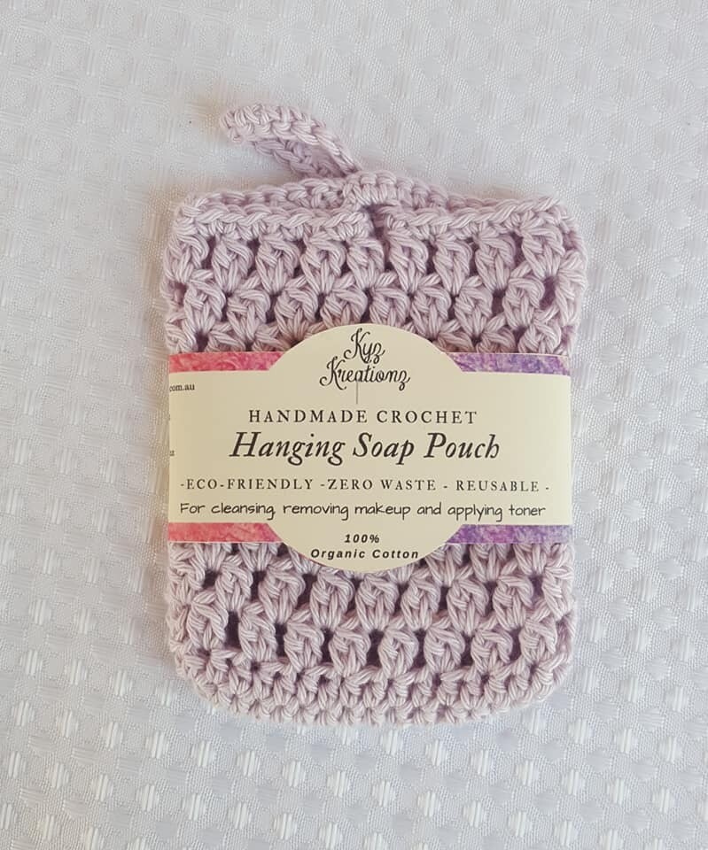 Made to Order   Crochet Hanging Soap Pouch -Organic Cotton