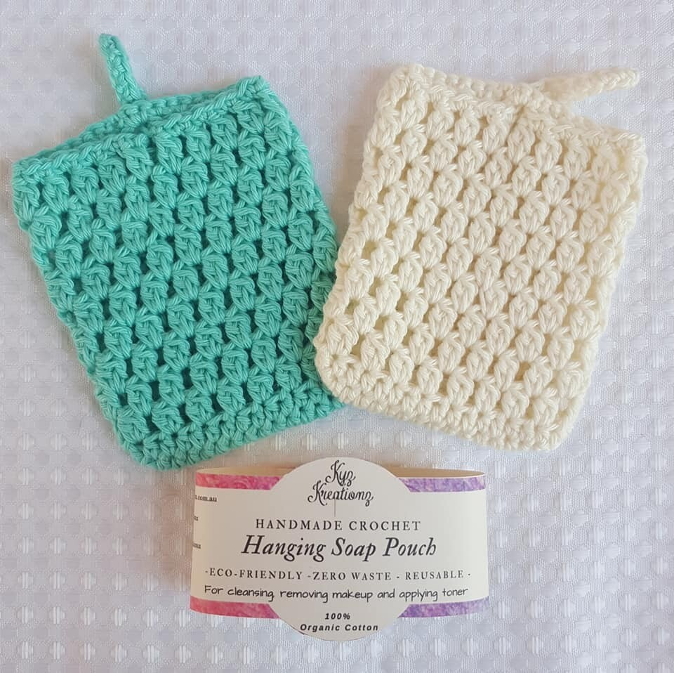 Made to Order   Crochet Soap Pouch (pack of 2) - Bright Ocean & Broken Almond