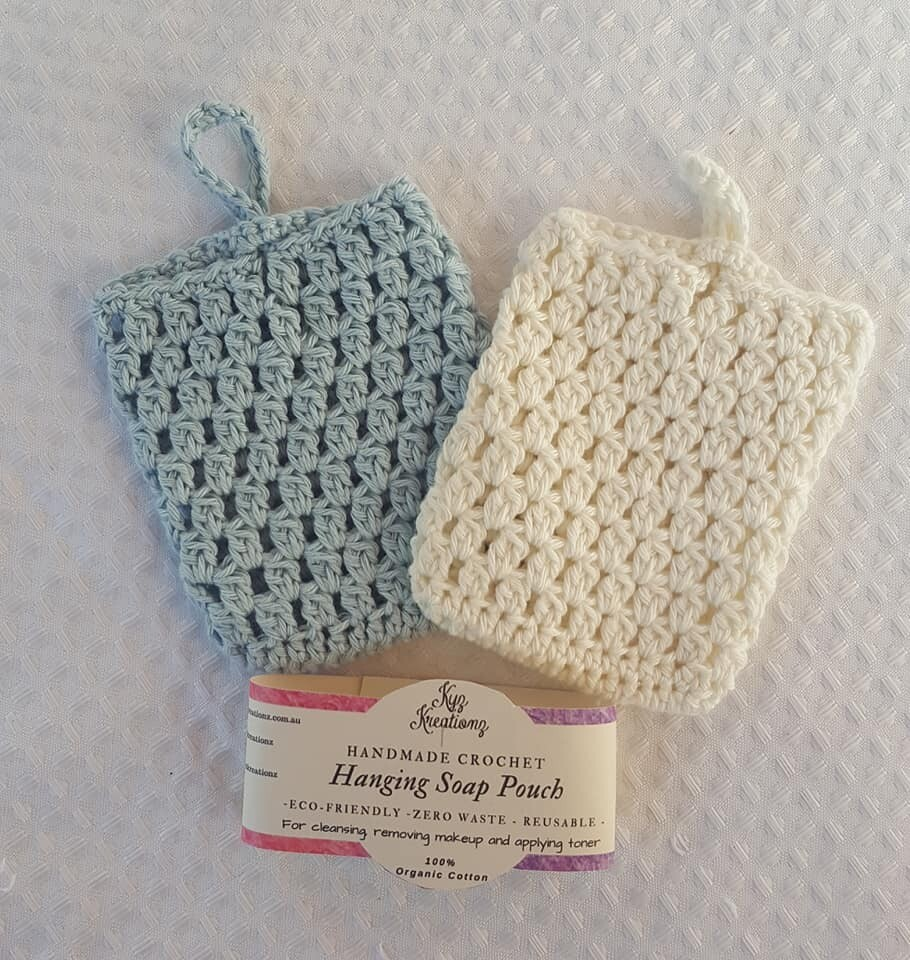 Made to Order   Crochet Soap Pouch (pack of 2) - Soft Sky & Broken Almond