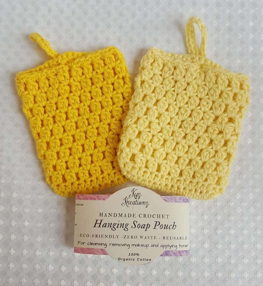Made to Order | Crochet Soap Pouch (pack of 2) - Gentle Primrose & Buttermilk