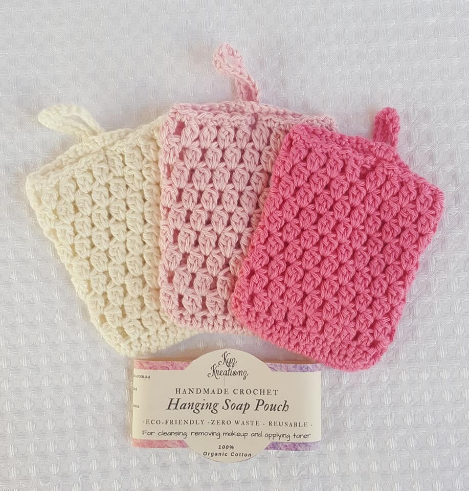 Made to Order | Crochet Soap Pouch (pack of 3) - Strawberries & Cream