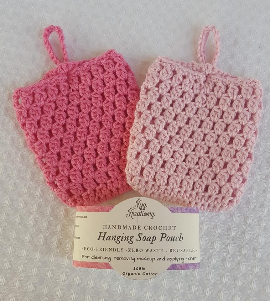 Made to Order   Crochet Soap Pouch (pack of 2) - Apple Blossom & Soft Blossom
