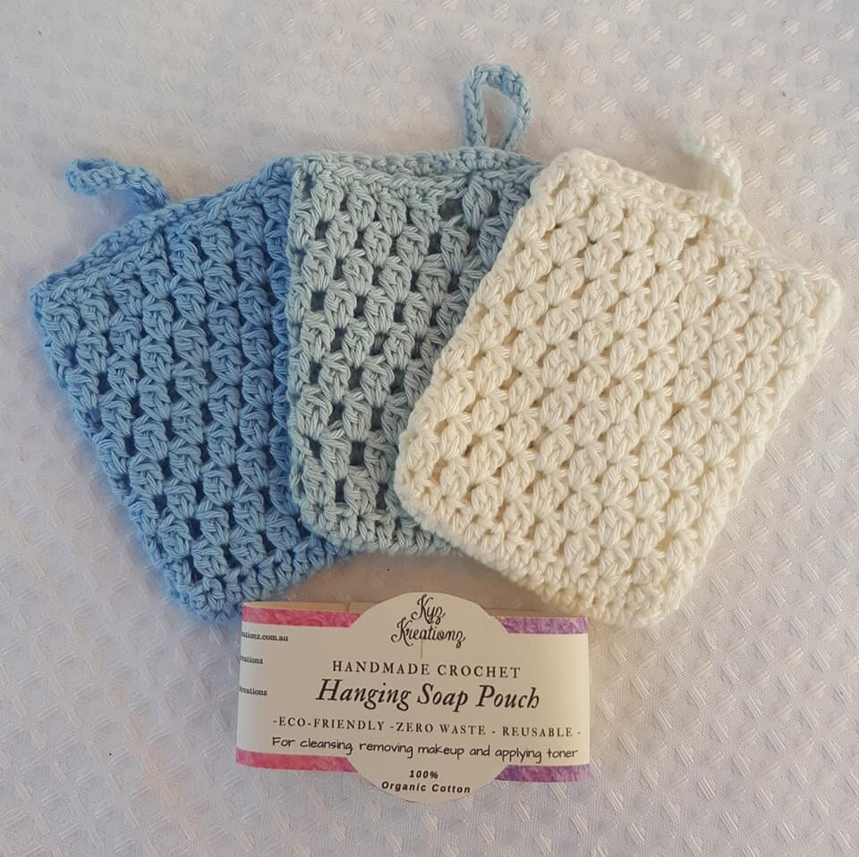 Made to Order   Crochet Soap Pouch (pack of 3) - Ocean Bliss
