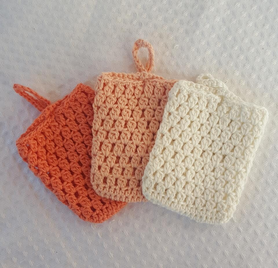 Made to Order | Crochet Soap Pouch (pack of 3) - Orange Fizz