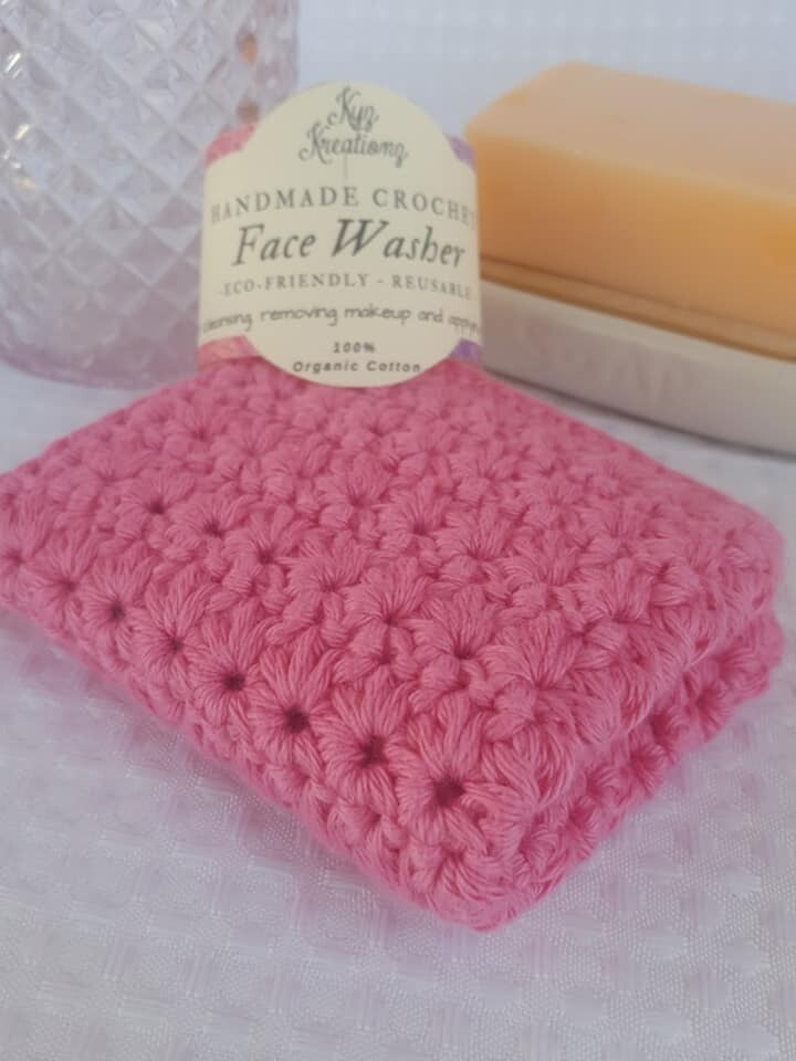 Made to Order   Crochet Face Washer - Apple Blossom