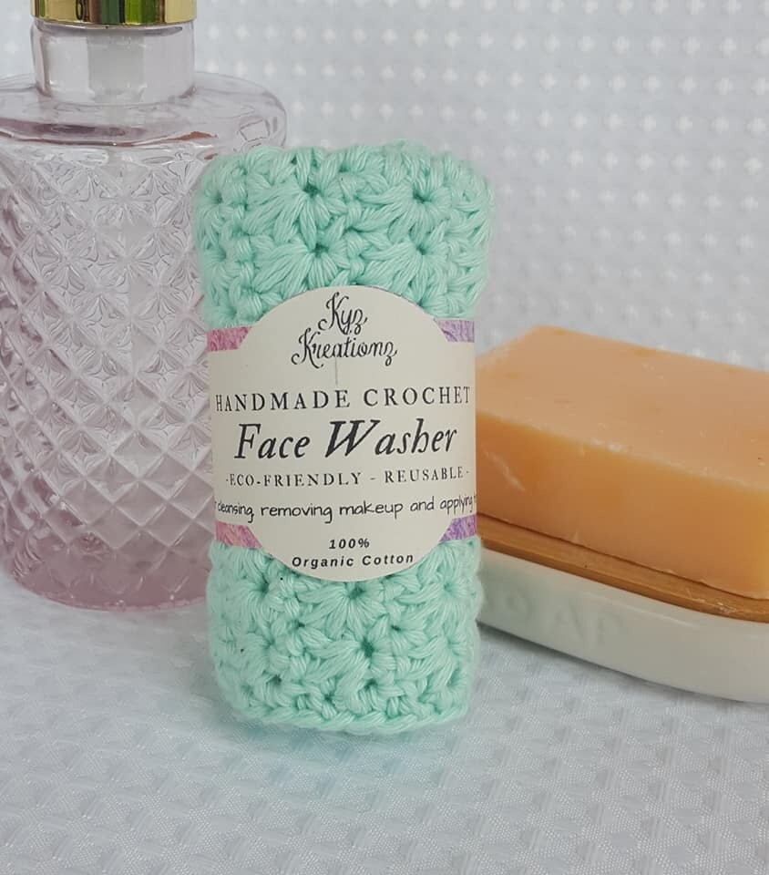 Made to Order   Crochet Face Washer - Glacier