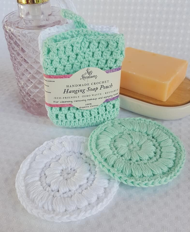 Made to Order   Crochet Soap Pouch & Scrubbie Set - Glacier & Oxygen