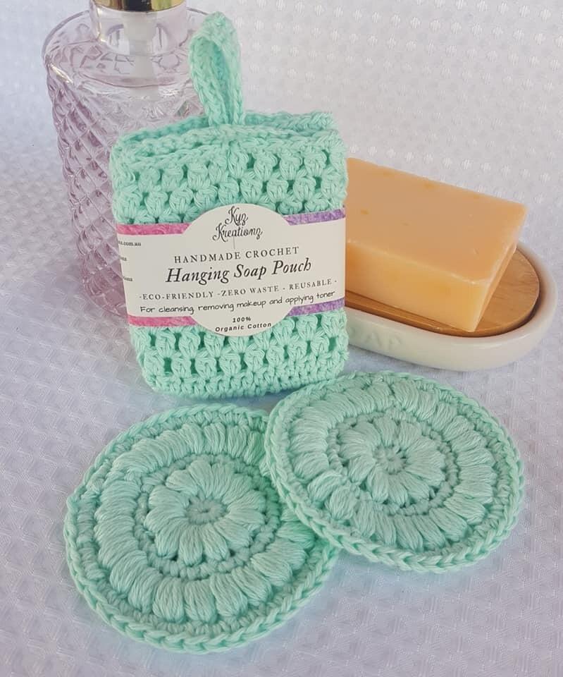 Made to Order | Crochet Soap Pouch & Scrubbie Set - Glacier