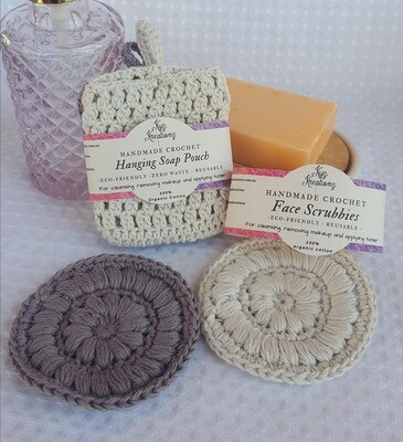 Made to Order | Crochet Soap Pouch & Scrubbie Set - Frosted Silver & Soft Cloud