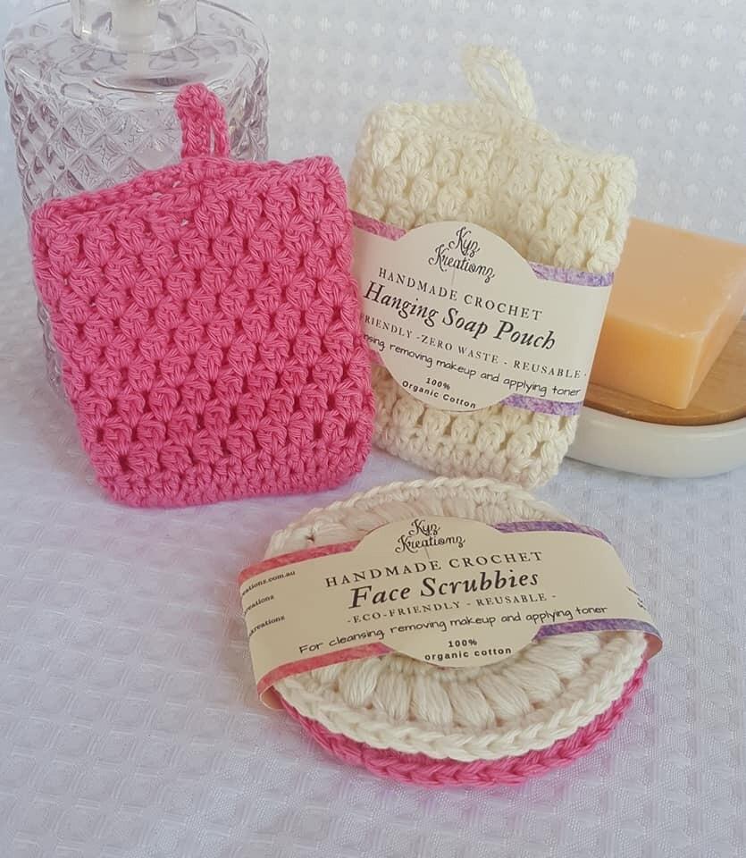 Made to Order | Crochet Soap Pouch & Scrubbie Set - Apple Blossom & Rich Cream