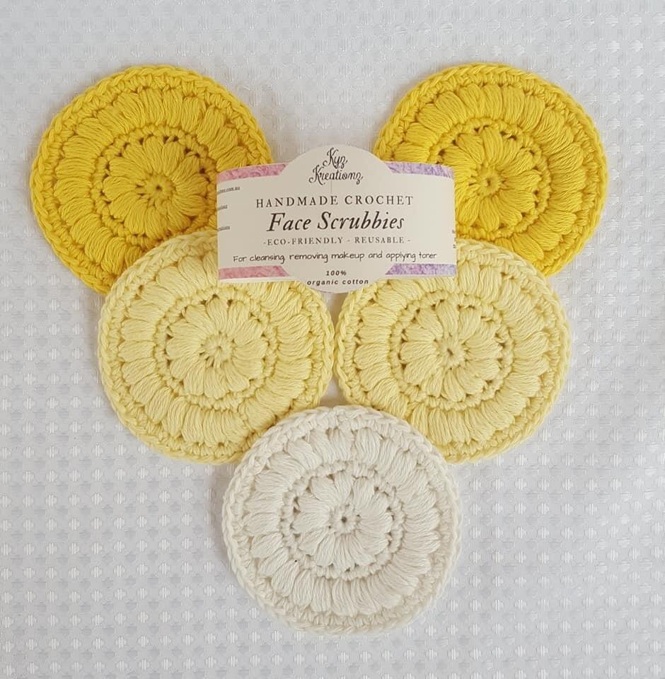 Made to Order   Crochet Face Scrubbies (pack of 5) - Zesty Lemon