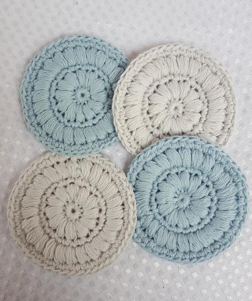Made to Order   Crochet Face Scrubbies (pack of 4) - Soft Sky & Soft Cloud