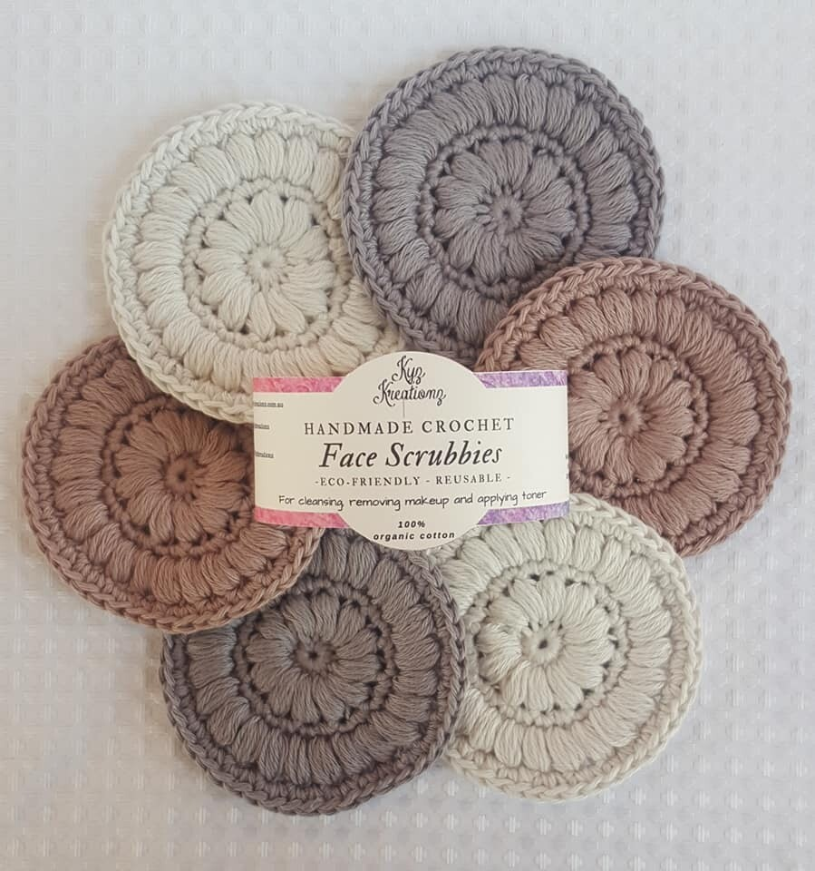 Made to Order   Crochet Face Scrubbies (pack of 6) - Hazelnut Swirl