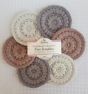Made to Order | Crochet Face Scrubbies (pack of 6) - Hazelnut Swirl