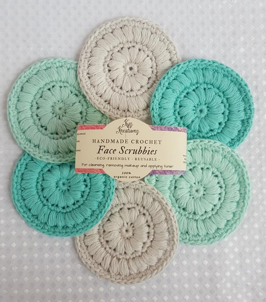 Crochet Face Scrubbies (pack of 6) - Peppermint Twist