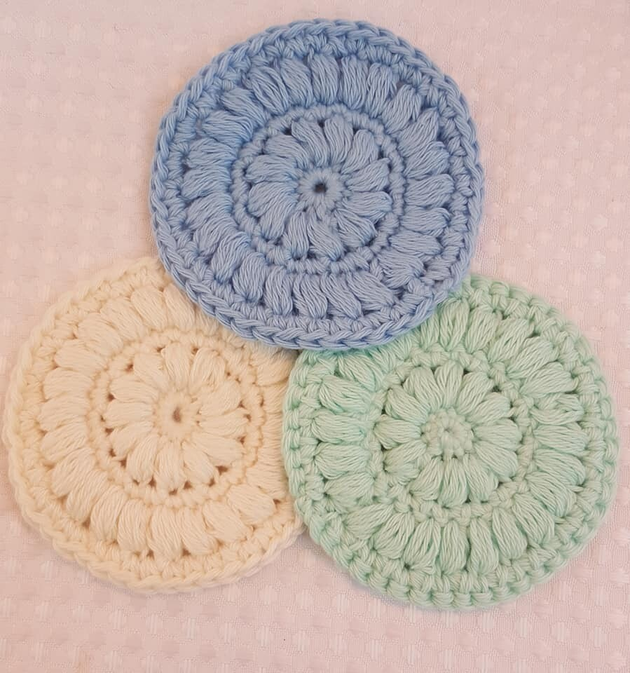 Made to Order   Crochet Face Scrubbies (pack of 3) - Sea Mist