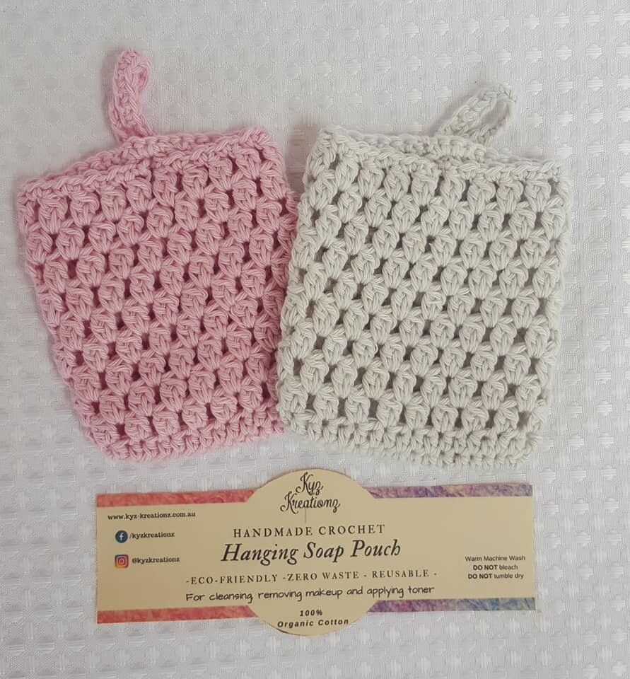 Made to Order   Crochet Soap Pouch (pack of 2) - Strawberry Cream