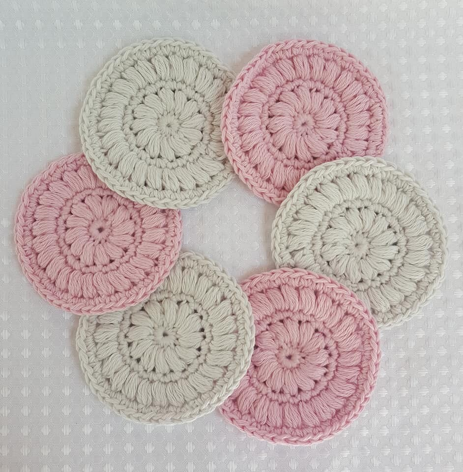 Made to Order   Crochet Face Scrubbies (pack of 6) - Strawberry Cream