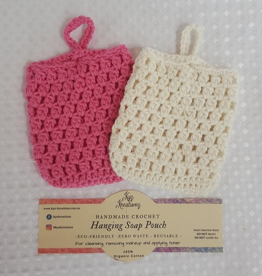 Made to Order | Crochet Soap Pouch (pack of 2) - Apple Blossom & Broken Almond