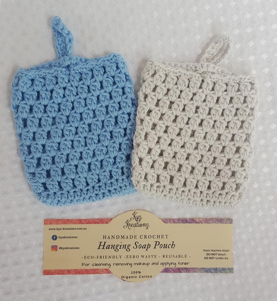 Made to Order   Crochet Soap Pouch (pack of 2) - Fresh Air & Soft Cloud