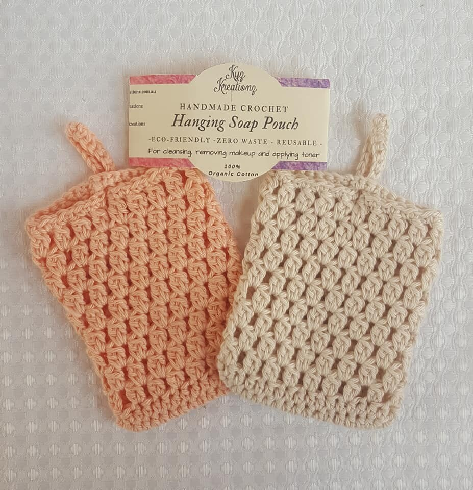 Made to Order   Crochet Soap Pouch (pack of 2) - Peach Fuzz & Clouded Crystal