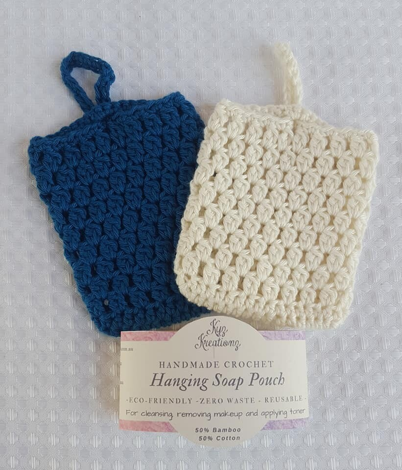 Made to Order   Crochet Hanging Soap Pouch (pack of 2) - Blueberry Cheesecake